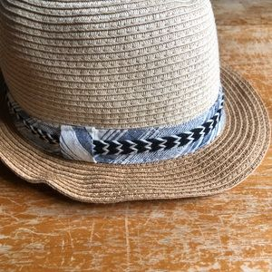 Paper Woven Fedora Hat With Ribbon Trim